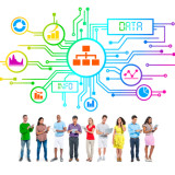 Multi-Ethnic Group of People and Data Concepts