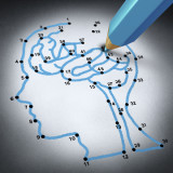 Intelligence therap and brain research challenges as a medical concept with a connect the dots drawing puzzle connected by a blue pencil representing a doctor shaped as a human head and thinking organ.