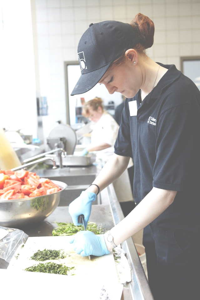 student dining food preparation
